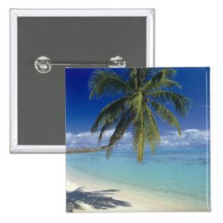 Plage de Matira sur l'île de Bora Bora, société Badge Carré 5 Cm
