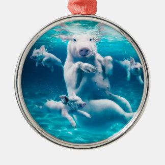 Plage de porc - porcs de natation - porc drôle ornement rond argenté