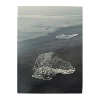 Plage de sable et glace noires, Islande Impression Sur Bois