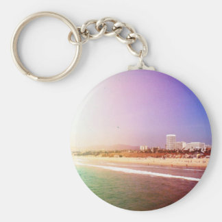 Plage de Santa Monica - la photo pourpre verte Porte-clé Rond