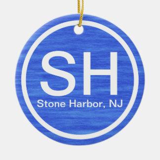 Plage en pierre SH personnalisée de New Jersey de Ornement Rond En Céramique