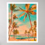 Plage hawaïenne vintage de PixDezines Affiches