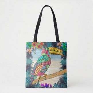 Plage mauve turquoise tropicale d'oiseau coloré de sac