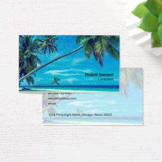 Plage sablonneuse blanche avec des cocotiers cartes de visite