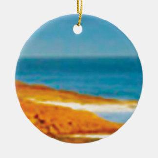 plage sablonneuse de désert ornement rond en céramique