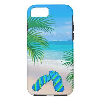 Plage tropicale avec des palmiers et des bascules coque iPhone 7
