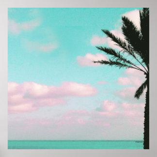 Plage tropicale, vue d'océan, nuages roses, paume poster