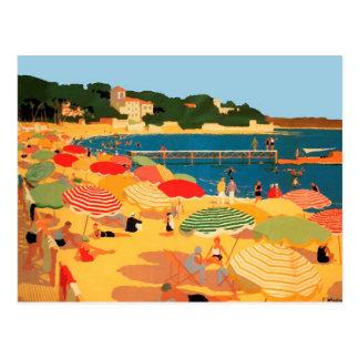 Plage vintage de la Côte d'Azur Carte Postale