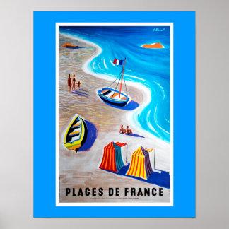 Plages d'affiche de la France Poster