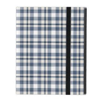 Plaid blanc bleu 1 étuis iPad