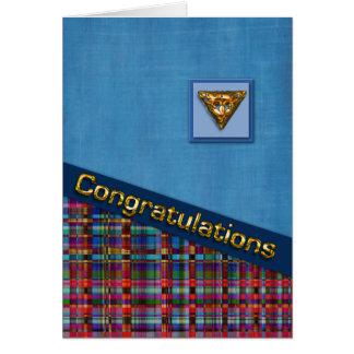 Plaid bleu et rouge 3D Congrats Carte