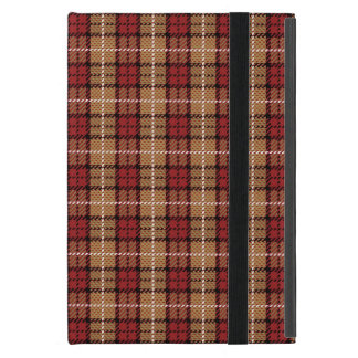 Plaid de pixel en rouge et or coque iPad mini