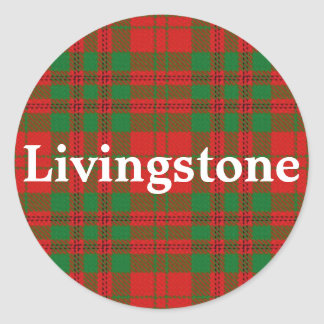 Plaid de tartan écossais de Livingstone de clan Sticker Rond