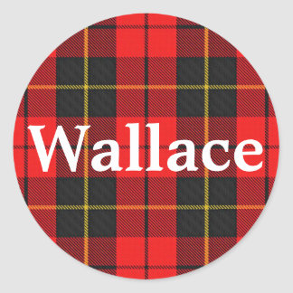 Plaid de tartan écossais de Wallace de clan Sticker Rond