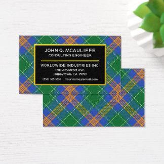 Plaid de tartan irlandais de MacAuliffe de clan Cartes De Visite