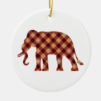 Plaid d'éléphant ornement rond en céramique