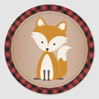 Plaid et Fox de bébé Sticker Rond