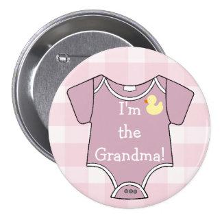 Plaid mauve je suis le baby shower de grand-maman pin's