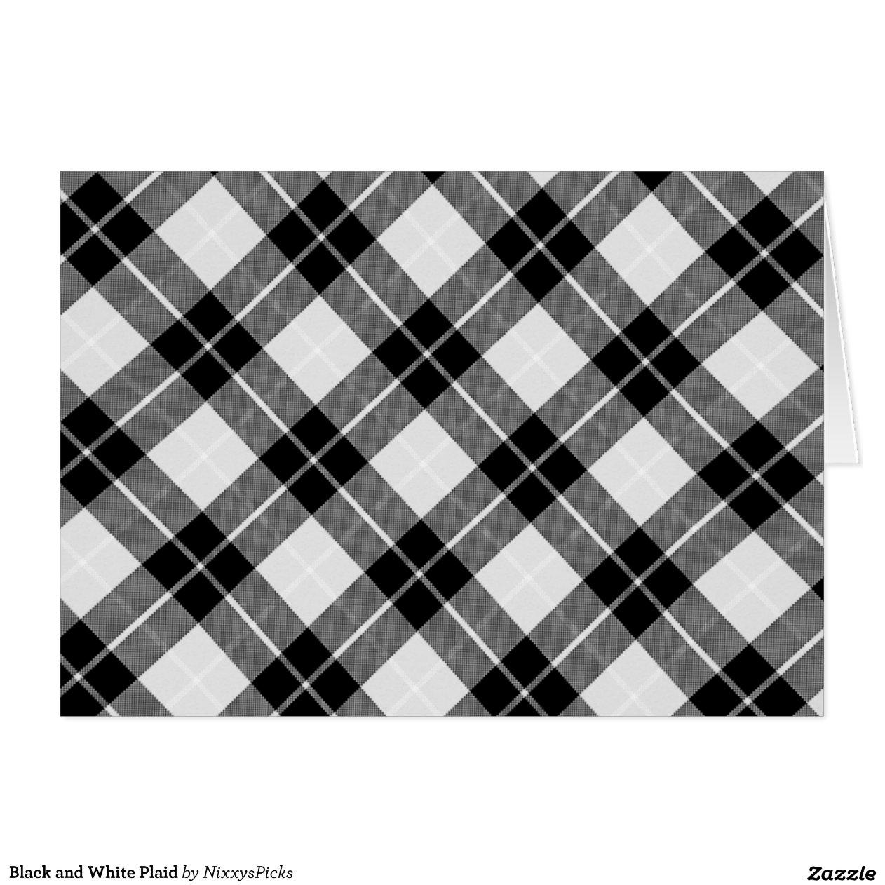 plaid noir et blanc carte de v ux zazzle. Black Bedroom Furniture Sets. Home Design Ideas