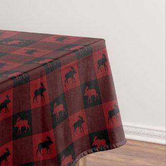 Plaid noir rouge d'orignaux nappe