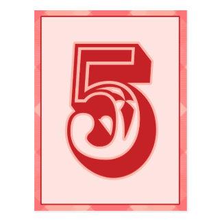 """Plaid rose nombre """"5"""" carte de bannière de"""