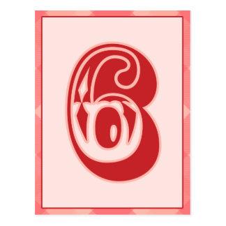 """Plaid rose nombre """"6"""" carte de bannière de"""