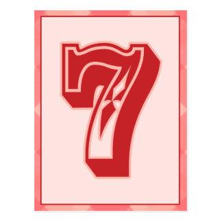 """Plaid rose nombre """"7"""" carte de bannière de"""