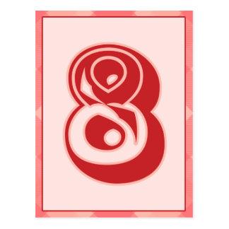 """Plaid rose nombre """"8"""" carte de bannière de"""