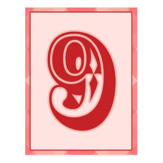 """Plaid rose nombre """"9"""" carte de bannière de"""