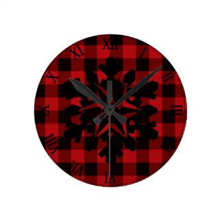 Plaid rouge et noir de pays - flocon de neige horloge ronde