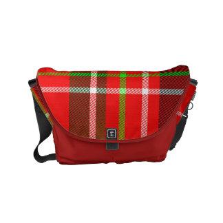 Plaid rouge/vert de motif de tartan de Noël Sacoche