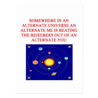 plaisanterie alternative de phsics d'univers carte postale