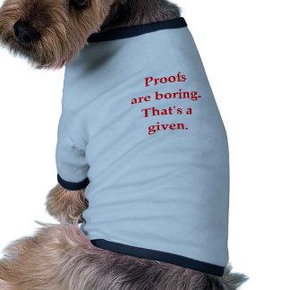 plaisanterie drôle de maths t-shirts pour chien