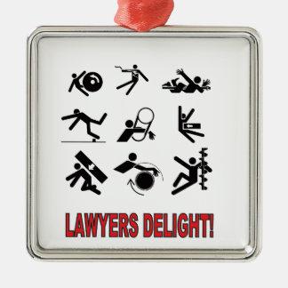plaisir d'avocats ornement carré argenté