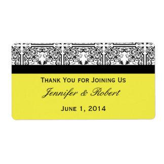Plaisir de damassé dans l'étiquette jaune citron étiquettes d'expédition