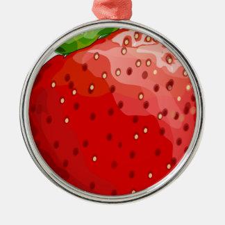 Plaisir d'été de fraise ornement rond argenté