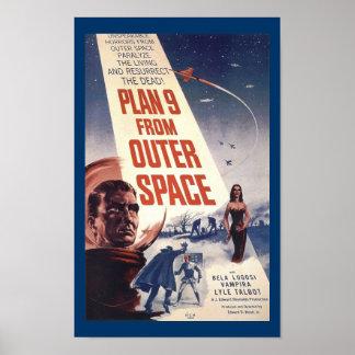 Plan 9 d'art vintage d'affiche de film d'espace ex posters