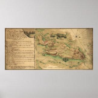 Plan de Île de Rhode Map (1778) Posters