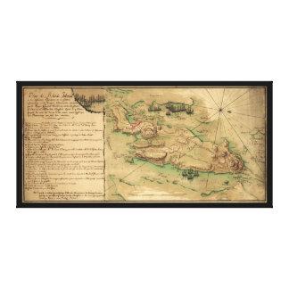 Plan de Île de Rhode Map (1778) Impressions Sur Toile