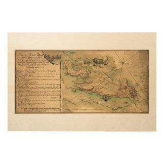 Plan de Île de Rhode Map (1778) Impressions Sur Bois