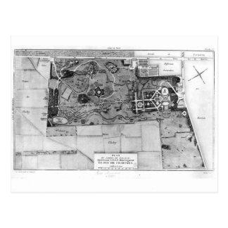 Plan de Parc Monceau à Paris Carte Postale