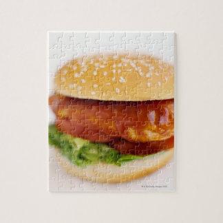 Plan rapproché d'hamburger de poulet puzzle