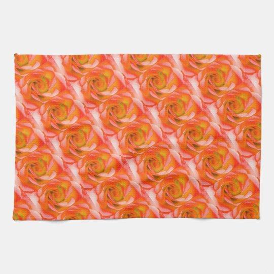 Plan rapproché rose d'orange serviettes pour les mains