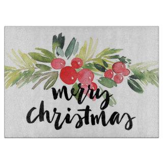 Planche À Découper Aquarelle de Noël | - houx de Joyeux Noël