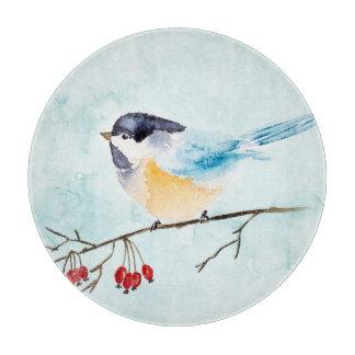 Planche À Découper Aquarelle de Noël | - oiseau et baies d'hiver