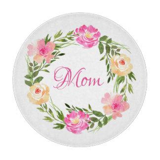 Planche À Découper Aquarelle personnalisée par maman florale féminine
