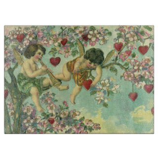 Planche À Découper Arbre victorien vintage de coeur de cupidons de