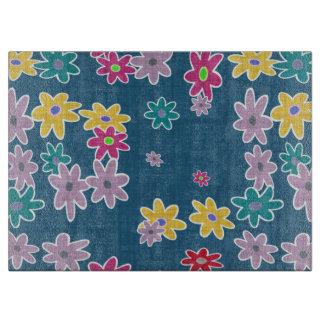 Planche À Découper Arrière - plan bleu avec le motif de fleurs coloré