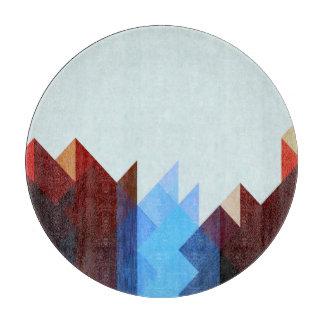 Planche À Découper Art géométrique bleu rouge