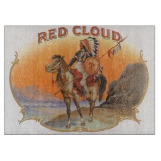 Planche À Découper Art vintage d'étiquette de cigare, Indien rouge de